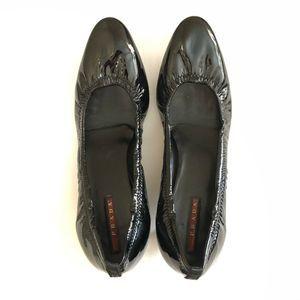 PRADA Scrunched Black Patent Leather Kitten Heel